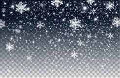 Neve di caduta di inverno su fondo trasparente fotografia stock