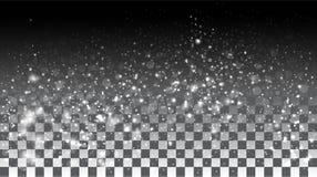 Neve di caduta su un fondo trasparente Fotografia Stock Libera da Diritti