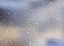 Neve di caduta su un fondo vago Fondo di inverno, paesaggio in tonalità blu, illustrazione di inverno di Natale di vettore Fotografie Stock