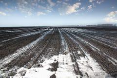 Neve di fusione sul campo Fotografie Stock