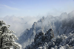 Neve di Huangshan del supporto Immagini Stock Libere da Diritti