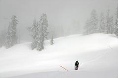 Neve di inverno che fa un'escursione vista immagini stock libere da diritti