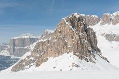 Neve di inverno del picco della sommità della cima della roccia della montagna, Marmolada Sella Dolomiti, Italia Fotografie Stock Libere da Diritti