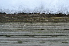 Neve di legno del fondo sull'inverno Fotografie Stock