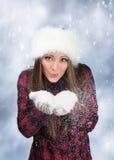 Neve di salto nell'inverno Fotografie Stock