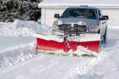 neve di schiarimento in una zona residenziale Fotografia Stock