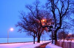 Neve di sera su un percorso Fotografia Stock Libera da Diritti