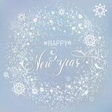 Neve do cinza do fundo dos snowlakes do ano novo feliz Foto de Stock