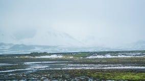 Neve do mau tempo de Islândia e fundo do mountaitn da névoa, MOS verde imagem de stock royalty free