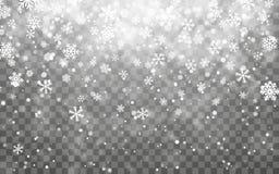 Neve do Natal Flocos de neve de queda no fundo escuro Efeito transparente da decoração do floco de neve Teste padrão do floco da  ilustração stock