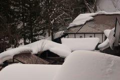 Neve do telhado fotografia de stock royalty free