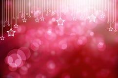 A neve e as estrelas vermelhas estão caindo no fundo Imagem de Stock Royalty Free