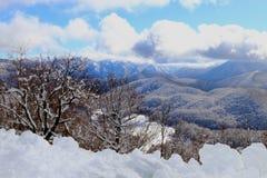 Neve e céu azul com nuvens e vara Foto de Stock
