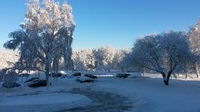 Neve e céu azul com nuvens e vara Imagens de Stock Royalty Free