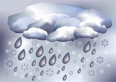 Neve e chuva, tempo Fotos de Stock Royalty Free