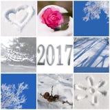 2017, neve e colagem das fotos do inverno Fotografia de Stock Royalty Free