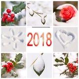 2018, neve e collage rosso e bianco di inverno della natura delle foto Fotografia Stock