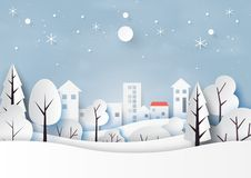 Neve e estação do inverno com paisagem da natureza e campo para o Feliz Natal e o estilo da arte do papel do ano novo feliz Vetor ilustração royalty free