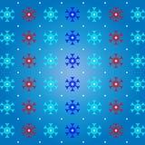 Neve e floco de neve no fundo azul do teste padrão Fotos de Stock Royalty Free