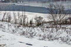 Neve e ghiaccio sul lago Manistee Fotografia Stock Libera da Diritti