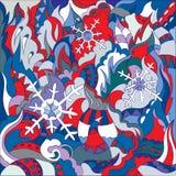 Neve e mosaico di scarabocchio di astrazione di inverno Disegno astratto di fantasia royalty illustrazione gratis
