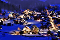 Neve e noite Imagem de Stock Royalty Free