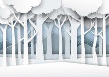 A neve e o inverno temperam o st da arte do papel de fundo da silhueta da floresta ilustração stock