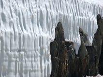 Neve e parede de pedra Fotografia de Stock