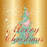 Neve e regali con il Natale fondo ed il vettore della cartolina d'auguri Illustrazione di Stock