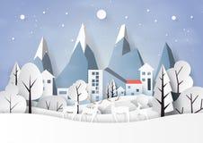 Neve e stagione invernale con il paesaggio e la campagna della natura per il Buon Natale e lo stile di arte della carta del buon  fotografia stock