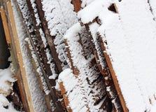 Neve em placas Imagens de Stock