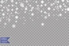 Neve em um fundo transparente Elemento decorativo do inclinação branco Ilustração do vetor Inverno e neve ilustração stock