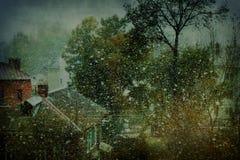 Neve em uma cidade abandonada ilustração stock