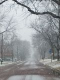 Neve em uma cidade pequena Imagem de Stock