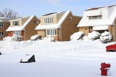 Neve em uma vizinhança de Chicago Imagem de Stock