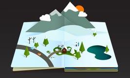 Neve a finestra del wintwr della montagna della foresta del libro Fotografia Stock Libera da Diritti