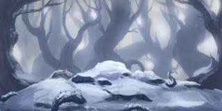 Neve Forest Fiction Backdrop Arte do conceito Ilustração realística ilustração royalty free