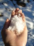 Neve fresca nella mano Fotografie Stock