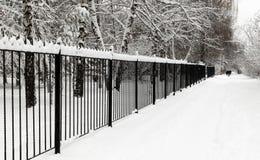 Neve fresca sulle vie della città immagine stock