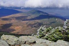 A neve geou pinhos em Rocky Vermont Ledge imagens de stock royalty free
