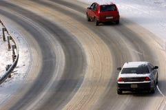 Neve na estrada. Imagens de Stock