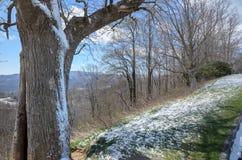 Neve na mola em Ridge Parkway azul Fotografia de Stock