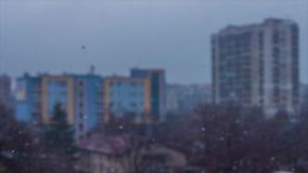 Neve nella città stock footage