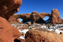 Neve no arco de Windows Fotografia de Stock Royalty Free