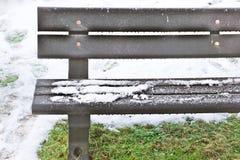 Neve no banco Imagem de Stock