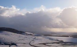 Neve no distrito máximo, Inglaterra do norte imagens de stock