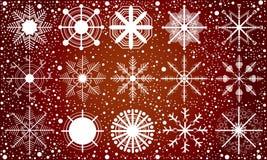 Neve no fundo vermelho Imagens de Stock Royalty Free