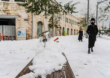 Neve no Jerusalém Imagem de Stock Royalty Free