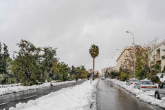 Neve no Jerusalém Foto de Stock Royalty Free