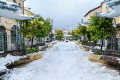 Neve no Jerusalém Fotos de Stock Royalty Free